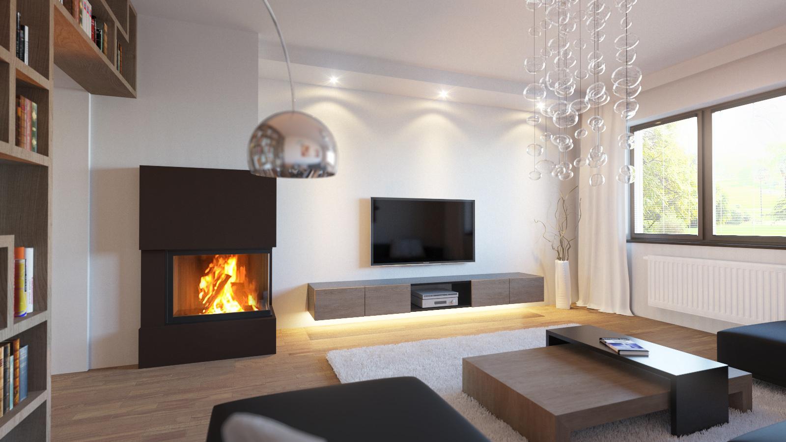 3d vizualizácia obývacej izby