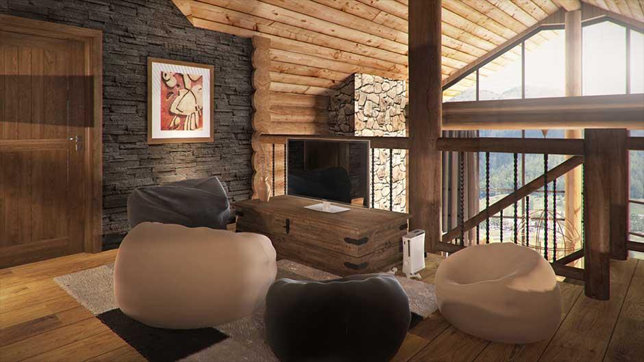 vizualizácia interiéru zrubovej chaty