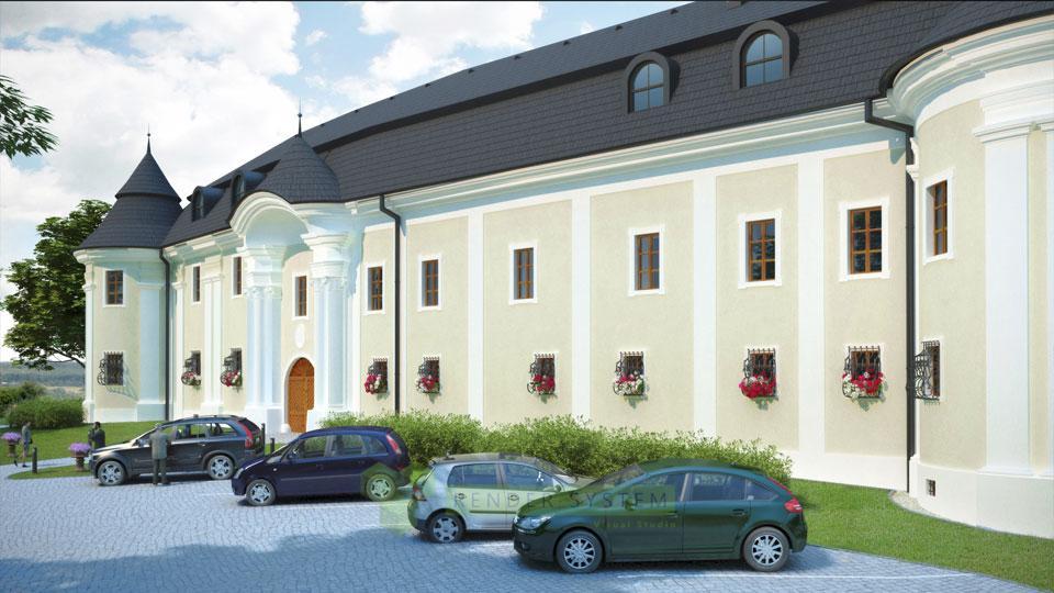 Vizualizácia rekonštrukcie Ožďanského kaštieľa.