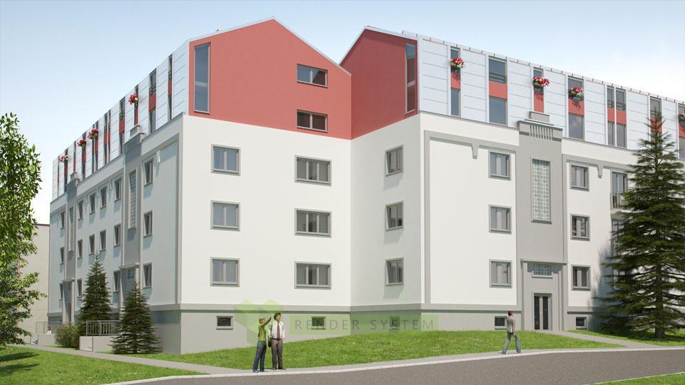 Vizualizácia rekonštrukcie bytového domu.