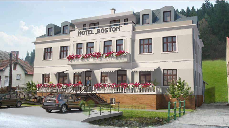 Vizualizácia exteriéru hotela Boston.