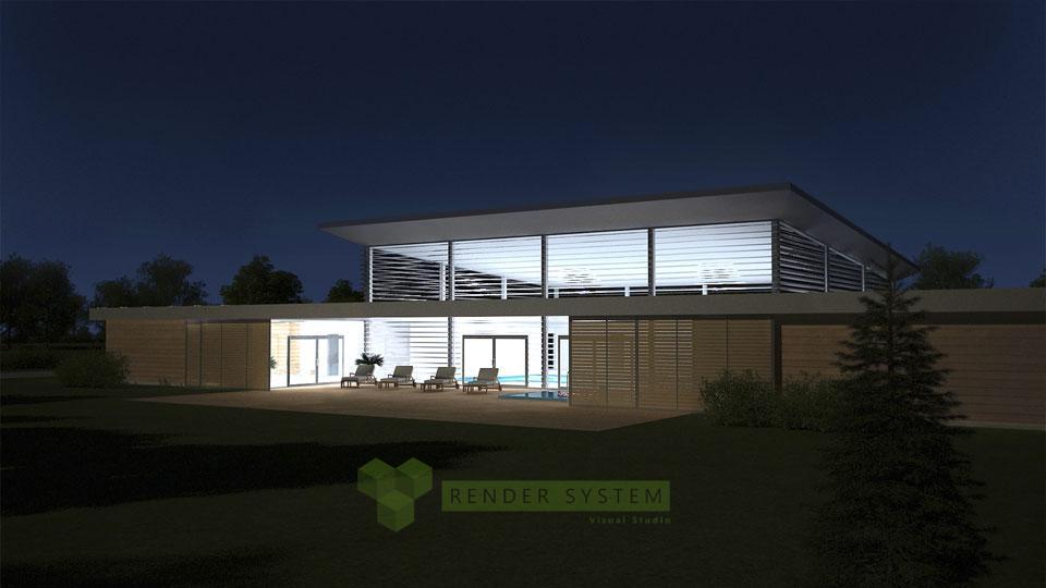 Nočná vizualizácia exteriéru wellness centra.