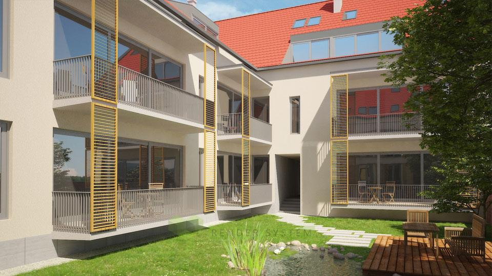 Vizualizácia developerského projektu Dom za freskami.
