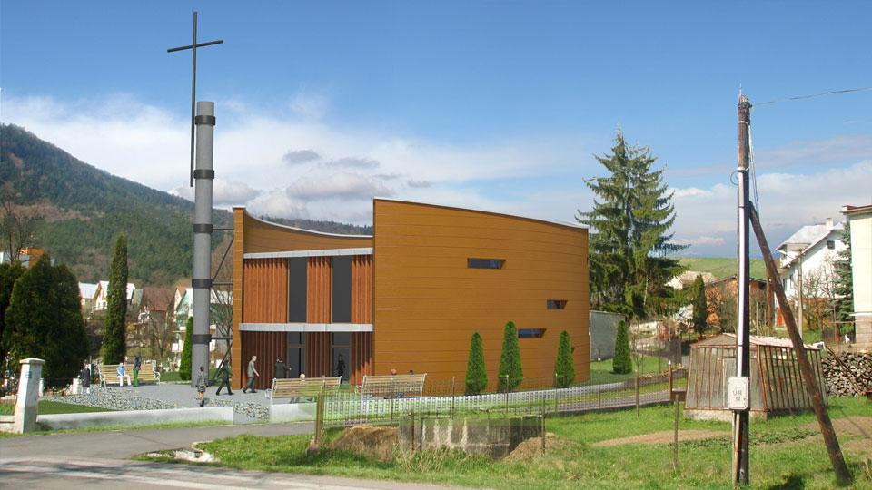 Vizualizácia exteriéru kostola.