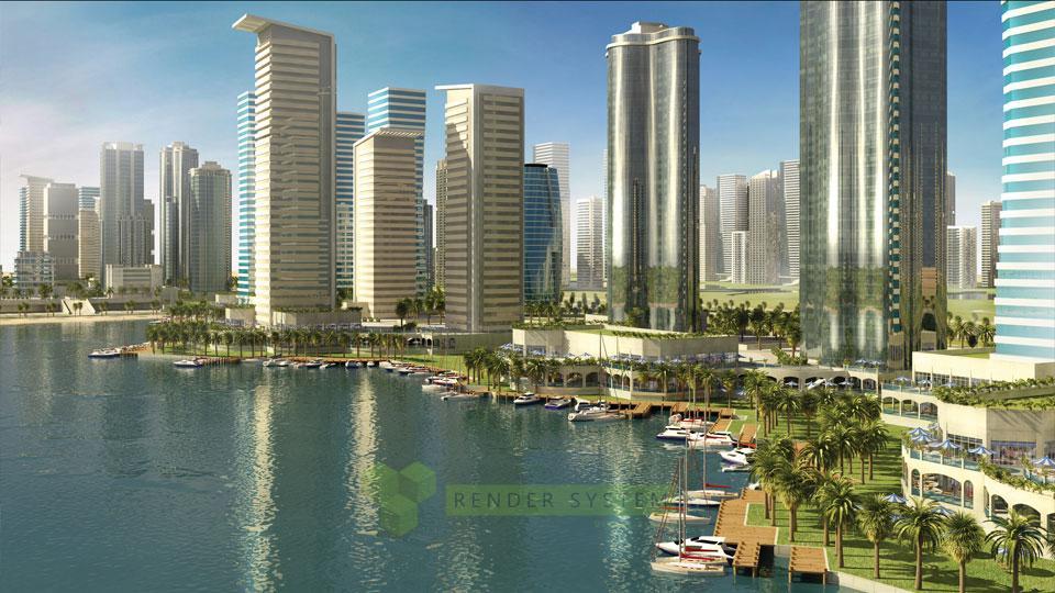 Vizualizácia urbanistického riešenia Dubai city.