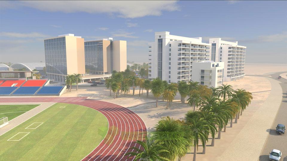 Vizualizácia urbanistického riešenia Dubai Sport city.