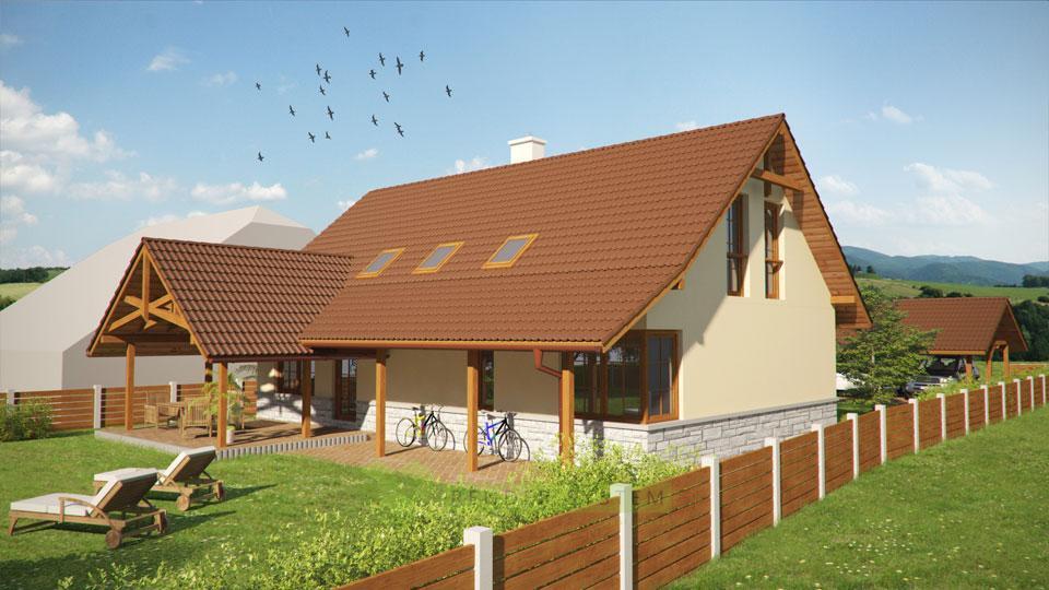 Vizualizácia exteriéru rodinného domu.