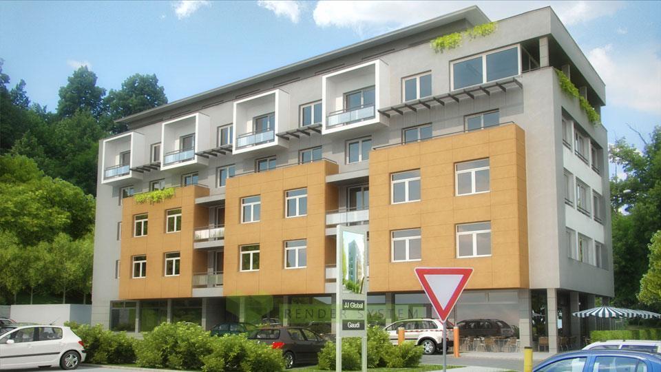 Vizualizácia exteriéru bytového domu Medený hámor.