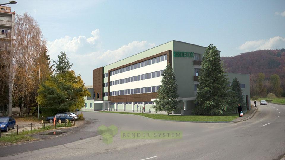 Vizualizácia kancelárskej budovy.