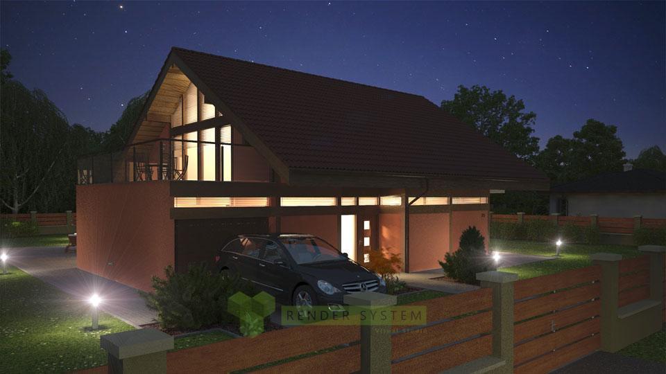 Vizualizácia exterieru katalógového rodinného domu firmy ForDom.