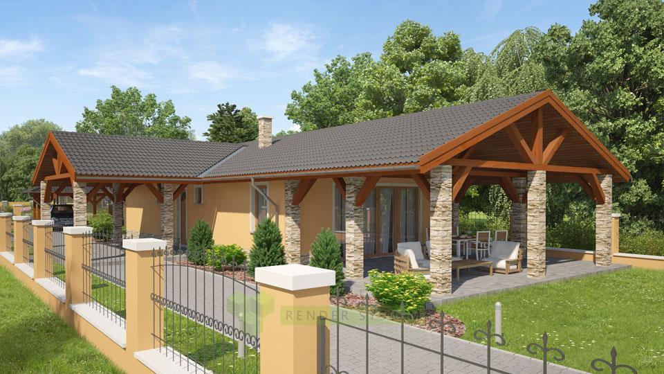 Vizualizácia exterieru katalógového rodinného domu firmy Sweet home.