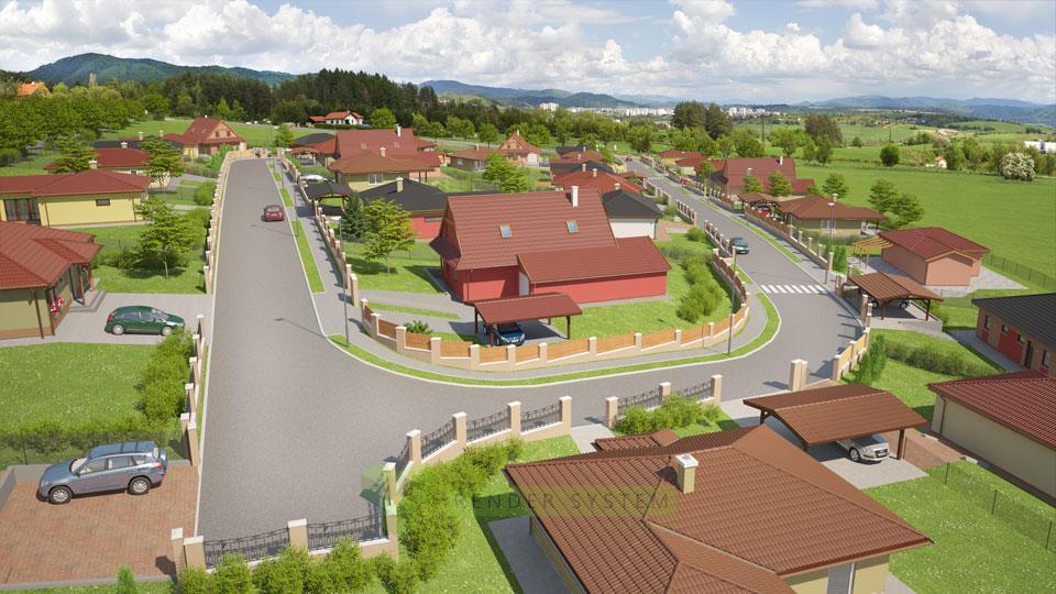 Vizualizácia pozemkov v oblasti Slnečné stráne Banská Bystrica pre studio Benar.