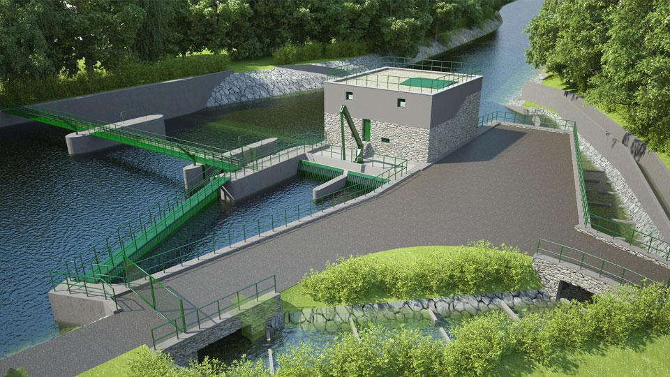 Vizualizácia malej vodnej elektrárne na rieke Hron.