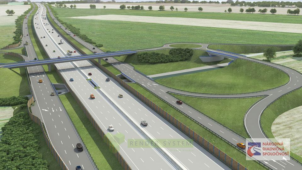 Vizualizácia diaľnice D1 pre spoločnosť Amberg a Národnú diaľničnú spoločnosť.
