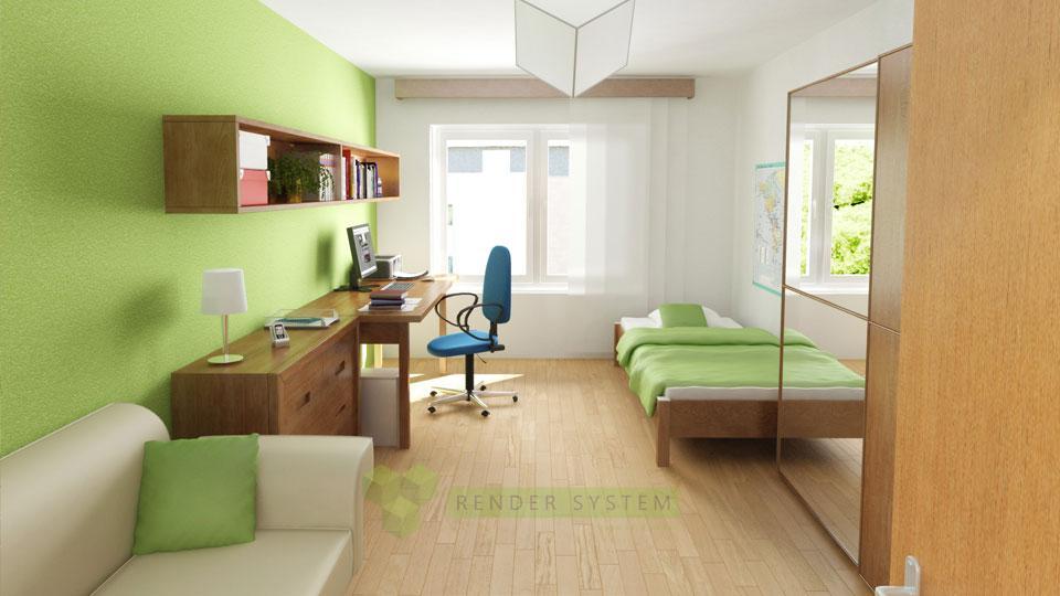 Vizualizácia interiéru dvojizbového bytu v bytovom komplexe Zátišie nad priehradou.
