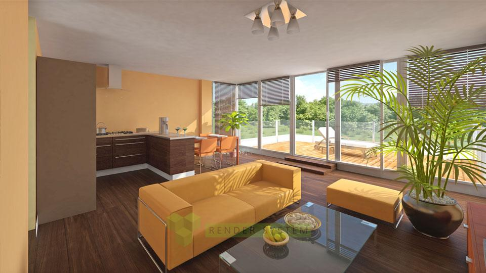 Vizualizácia interiéru trojizbového bytu v bytovom komplexe Borovia.