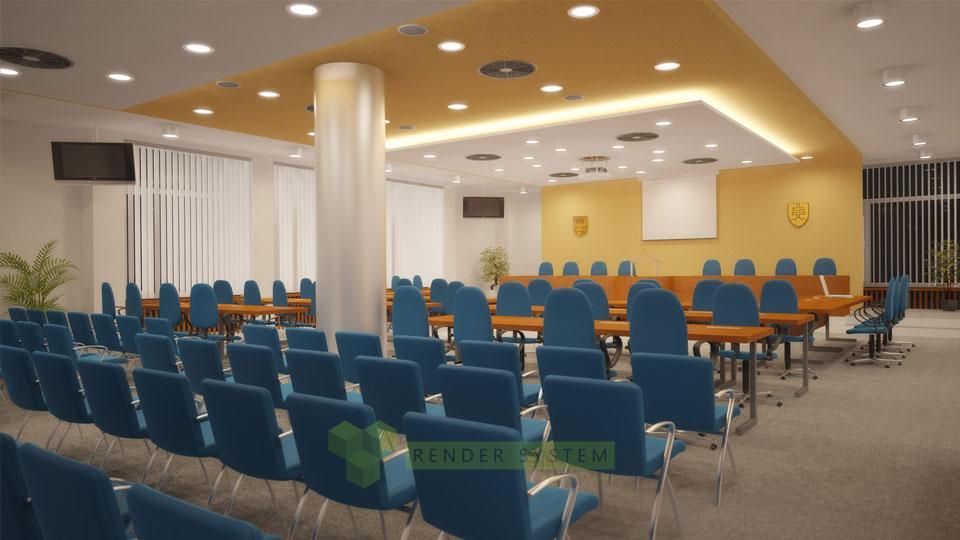 Vizualizácia interiéru rokovacej miestnosti mestského úradu Malacky.