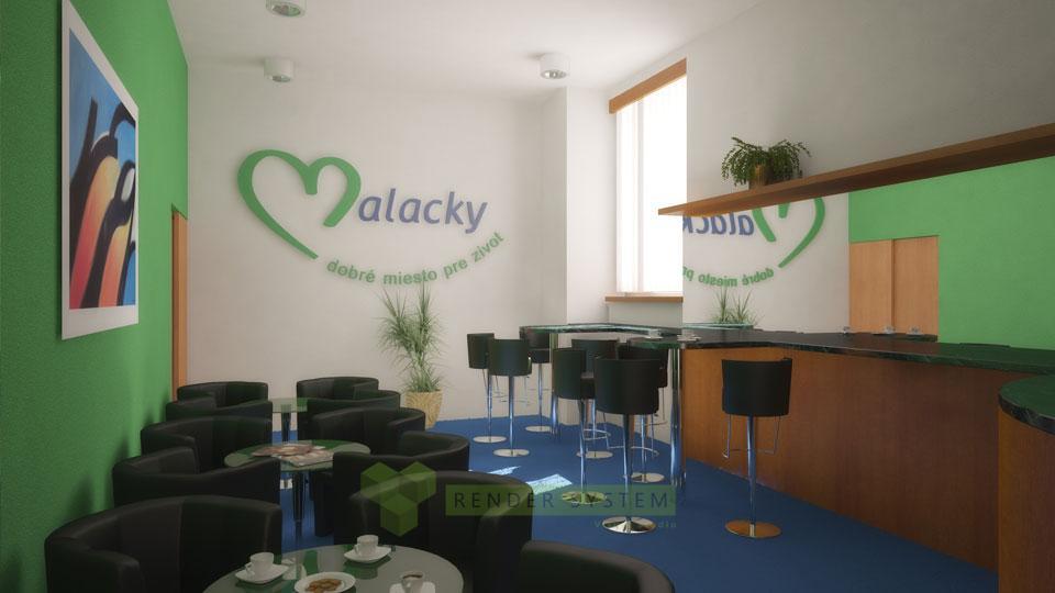 Vizualizácia interiéru oddychovej miestnosti mestského úradu Malacky.