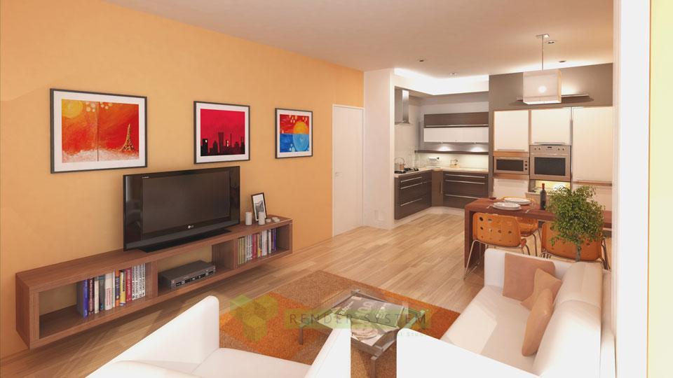 Vizualizácia interiéru bytového domu.