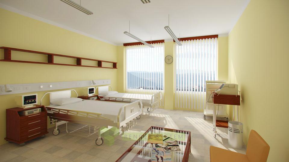 Vizualizácia interiéru nového pavilónu Rooseveltovej nemocnice.