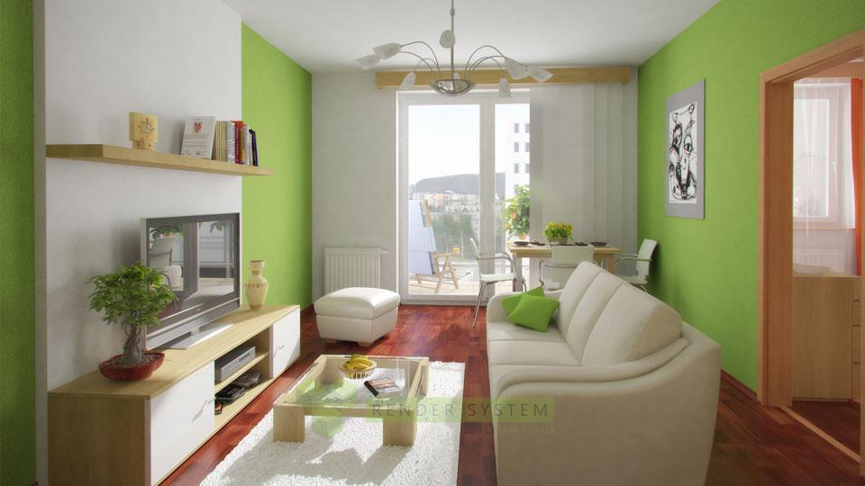 Vizualizácia interiéru dvojizbového bytu v bytovom komplexe Milestones.