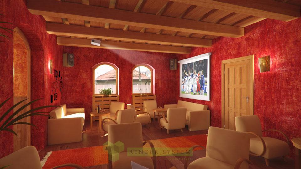 Vizualizácia interiéru kaviarne a baru.