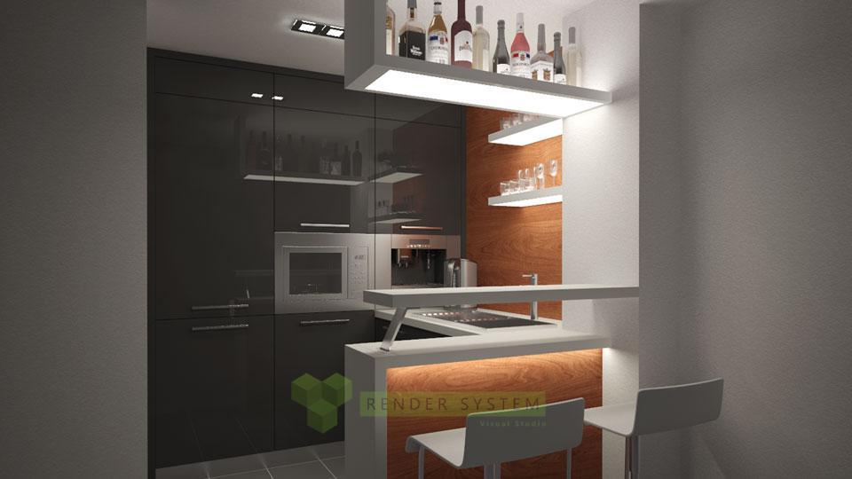 Vizualizácia interiéru kancelárskej kuchynky.