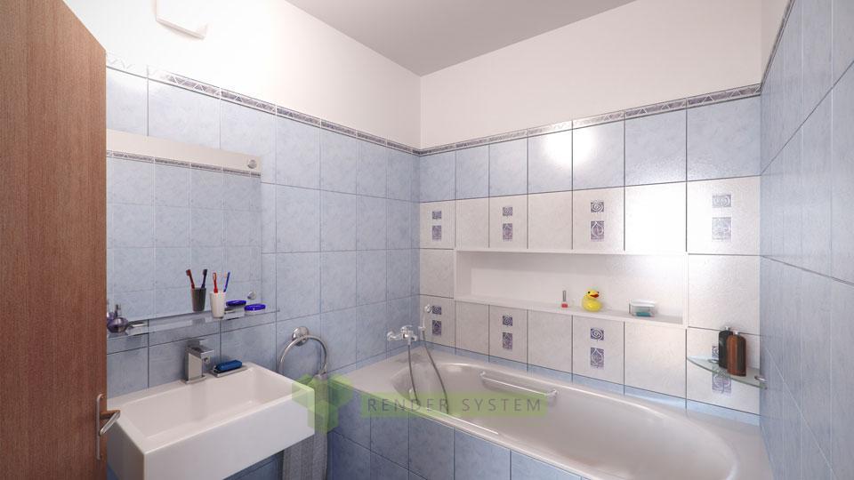 Vizualizácia interiéru dvojizbového bytu v bytovom dome Pernecka.