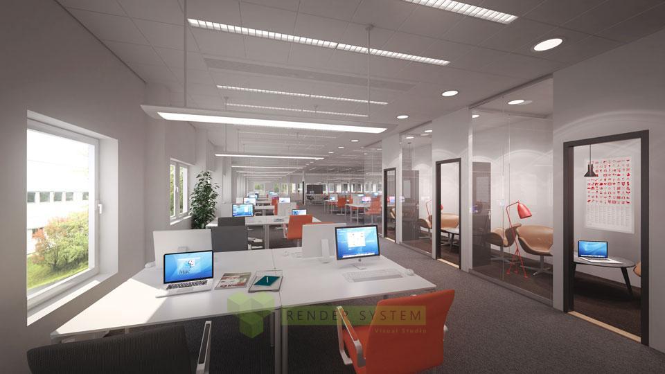 Vizualizácia kancelárskych priestorov.