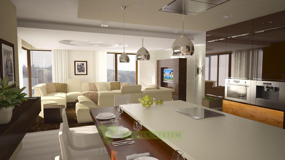 Vizualizácia interiéru rodinného domu.