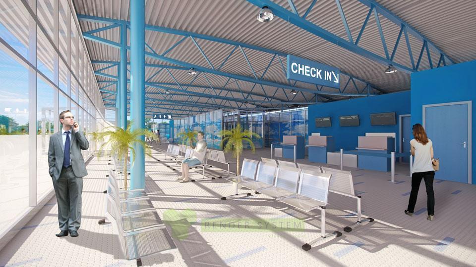Vizualizácia interiéru letiskového terminálu letiska Sliač.