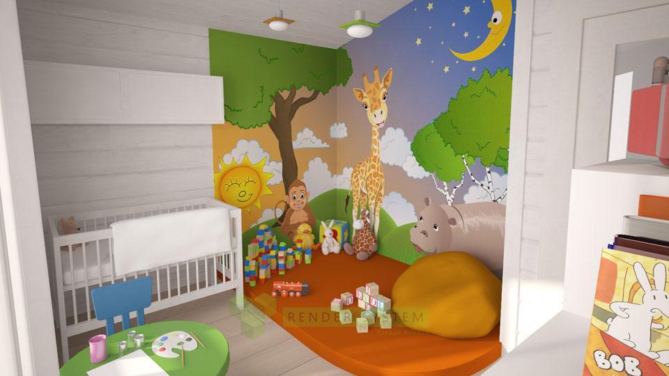 Vizualizácia interiéru zrubovej vily pre interierové štúdio Benar.