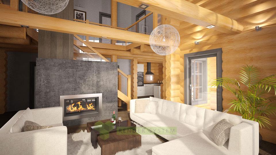 Vizualizácia interiéru zrubovej chaty pre interierové štúdio Benar.