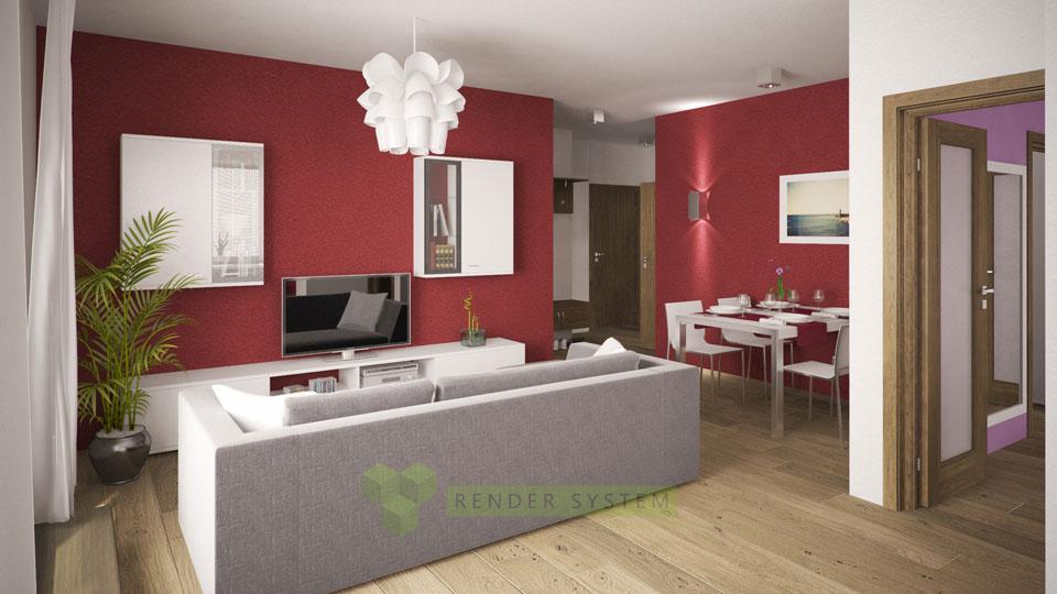 Vizualizácia interiéru trojizbového bytu.