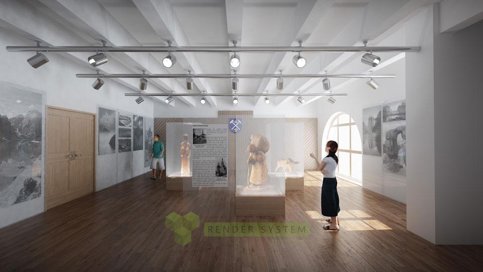 Vizualizácia interiéru radnice v Novej Bani.