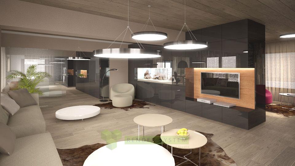 Vizualizácia interiéru vily pre interierové štúdio Benar.