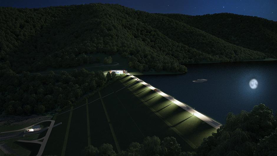 večerná vizualizácia vodnej nádrže Tichý potok