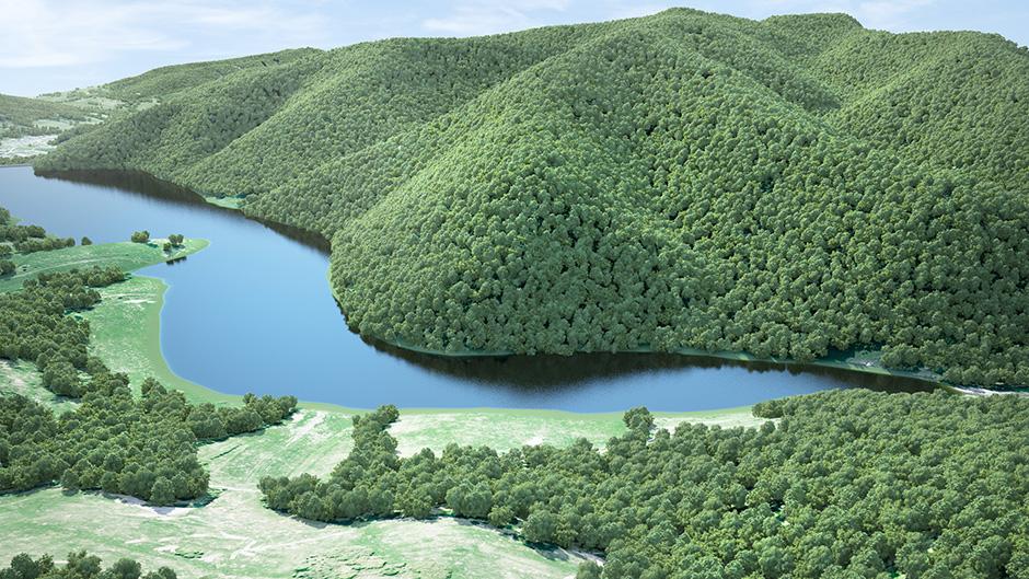 vizualizácia vodnej nádrže Tichý potok