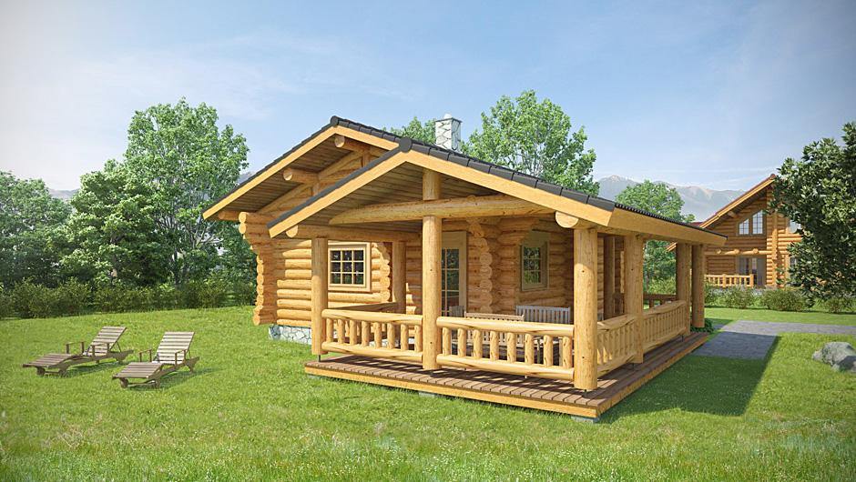 vizualizácia zrubového domu do katalógu