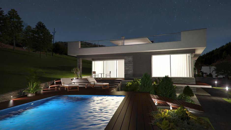 večerná vizualizácia rodinného domu
